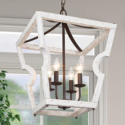 "LOG BARN Wood Chandelier for Dining Room, 4-Light Farmhouse Lantern Chandelier Lighting for Kitchen Island, Distressed White, 16"" Dia"