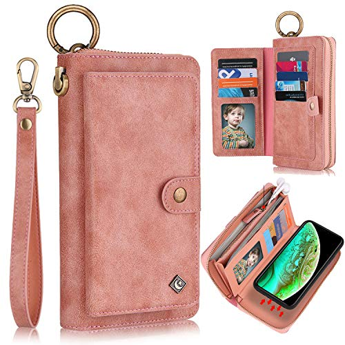 """XRPow Wallet Case iPhone Xs Max [2 in 1] Magnetic Detachable Wallet Case [Vegan Leather] Zipper Clutch Folio Flip Card Solt [Wrist Strap] Purse Protection Back Cover for iPhone Xs Max 6.5"""" - Rose Gold"""