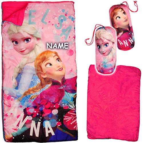 alles-meine.de GmbH 2 in 1 : Schlafsack & XL Decke - 140 cm - Disney die Eiskönigin - Frozen - inkl. Name - komplett aufklappbar - Kinder Camping - sehr leicht - warm - Kindersch..