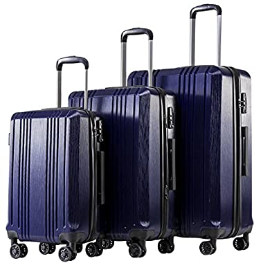 Coolife Luggage Expandable Suitcase PC+ABS 3...