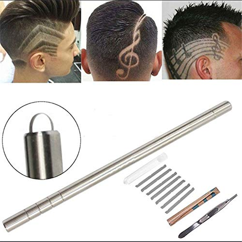 Oulensy 1 Packung Haar-Tattoo-Rasiermesser-Stiftsatz Augenbrauen-Haarformungswerkzeug Pro Hair Trim Styling-Gerät Haar-Gravierstift 10 Klingen + 1 Pinzette Mit zusätzlicher Geschenkbox