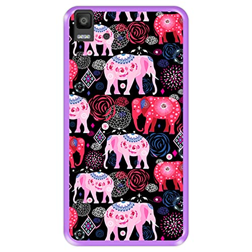 Hapdey silikon Hülle für [ Bq Aquaris E5s - E5 4G ] Design [ Helles Muster von rosa & roten schönen Elefanten ] Lila Flexibles TPU