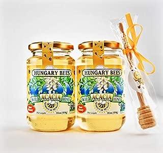 Hungary Bees Wild Acacia Honey 16oz - 2 Pack with free honey dipper stick