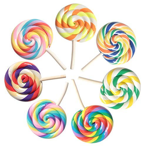 SBYURE 7 PCS Colorful Lollipops Clay Pendant Charms Big Size Rainbow Swirl Lollipop Candy Embellishment for DIY Craft Supply