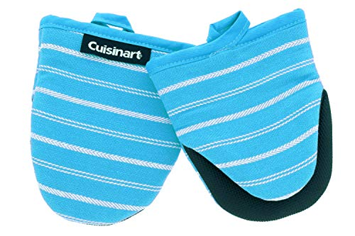 Cuisinart Neoprene Mini Oven Mitts2pkHeat Resistant Oven Gloves Protect Hands and Surfaces with NonSlip Grip and Hanging LoopIdeal Set for Handling Hot Cookware BakewareTwill Stripe Blue Curacao
