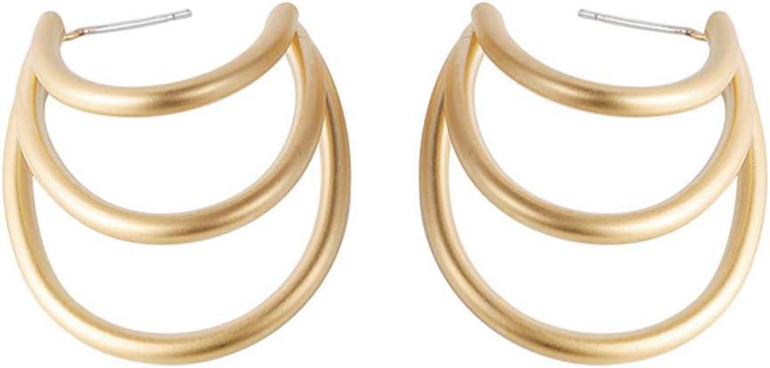 zhenleisier Women Semicircle Oval Irregular Geometric Dangle Hook Ear Stud Cuff Earrings Daily Office Party Dating Jewelry A