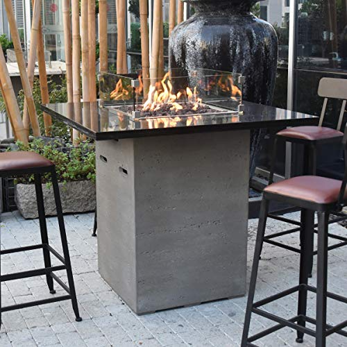Elementi Alps HPC Concrete Rectangular 8 Seater Fire Pit Bar Table in Light Grey