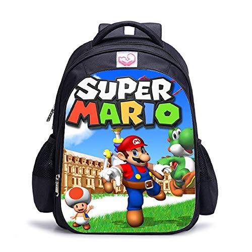 AAGG Mochila de 16 pulgadas personaliza tu logotipo con imagen de la imagen de los niños, mochila ortopédica para niños y niñas Super Mario Bros 10