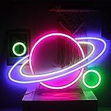 """Pianeta Insegna al Neon Luce al Neon Pianeta Insegna Luminosa a Led Grande Parete Arte Rosa Blu Pianeta al Neon Segno per Bambini Sala Giochi Camera da Letto Decorazione Della Casa 16""""x11"""""""