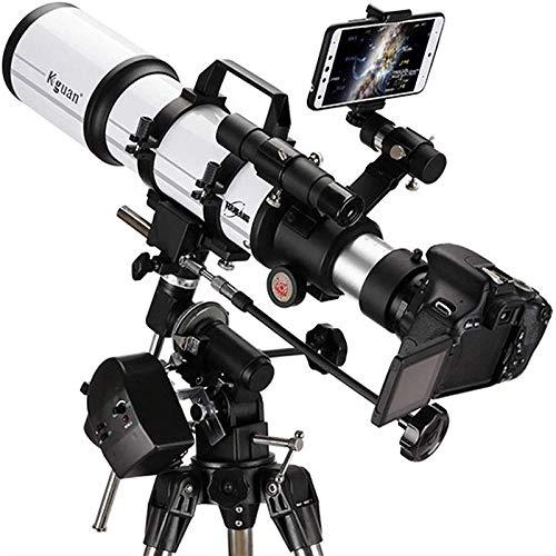 Reflector profesional National Geographic Telescope, apertura de 80 mm 600mm AZ Monte Astracción Astronómica, Óptica recubierta multi-recubierta Durable, Telescopio de viaje portátil con trípode y bus