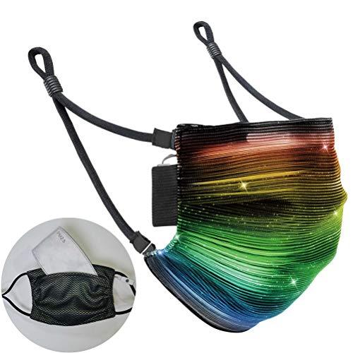 Yuciya Halloween Maske, 7 Farben LED Leuchtmaske Weihnachten Glasfaser Maske USB Wiederaufladbare Party Cosplay Masken mit Abnehmbarem Filter