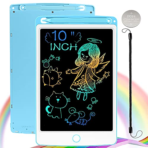 NOBES LCD Writing Board, Drawing Board, Magic Board, 10 Inch Colourful Writing Tablet, Magic Drawing Board, Colouring Board, Pen Paperless for Children, Toys, from 2 Years, Girls, Boys, Gift (Blue)