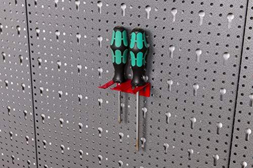 Werkzeughaltersortiment für Euro-Lochwand mit 22 Teilen in Rot – Silber - 8