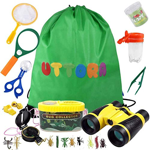 UTTORA Fernglas Kinder, Draussen Forscherset für Kinder 21 Stück Spielzeug Set mit Bug Catcher Pinzette Insect Viewer Kompass Lupe & Schmetterlingsnetz für Camping und Outdoor-Sport
