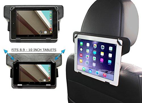 Navitech Schwarze Leder Tablet PC verstellbare, festsitzende Halterung/Station für KFZ-kopfstütze/Rücksitz für das Odys Junior Tab 8 Pro