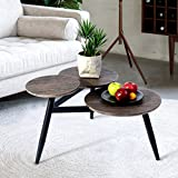 <span class='highlight'><span class='highlight'>Aingoo</span></span> Small Coffee Table Industrial Style End with 3 Tops Wood Side Tables With Metal legs Brown