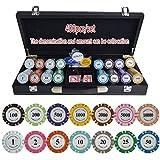 TX GIRL Texas Hold'em Poker Chips Conjunto con PU-Piel/Caja/Maleta Corona Ficha De Póker De La Arcilla Fichas De Póquer Fichas De Casino 200/300 / 400 / 500PCS / Set (Color : 400pcs Leather)