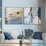 Carteles e impresiones artísticos nórdico azul amarillo abstracto lienzo pintura decoración del hogar para sala de estar imagen minimalista moderna 50x50cmx2pcs sin marco