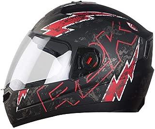 Steelbird SBA-1 R2K LIVE Full Face Helmet in Matt Finish with Plain Visor (Large 600 MM, Matt Black/Red)