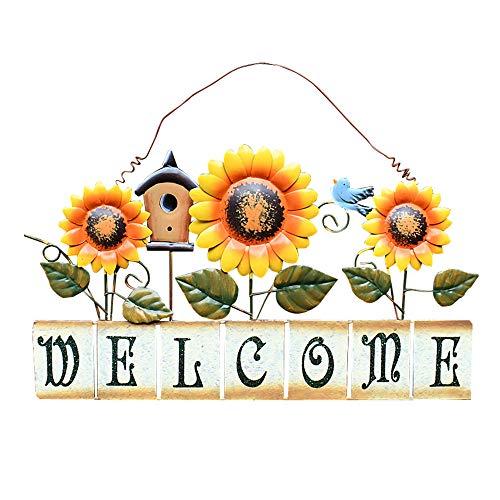 Metal Sunflower Welcome Sign Hanging Wall Art Door Decor for Indoor Outdoor Garden