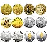 Krisler Bitcoin Coin Collector Geschenkset für physische Kryptowährung   Bitcoin (BTC), Ethereum (ETH), Litecoin (LTC), Ripple (XRP), EOS (EOS), Dogecoin (Doge), Gold und Silber (6 Pack)
