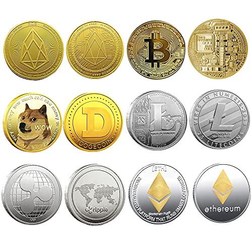 Krisler Bitcoin Coin Collector Geschenkset für physische Kryptowährung | Bitcoin (BTC), Ethereum (ETH), Litecoin (LTC), Ripple (XRP), EOS (EOS), Dogecoin (Doge), Gold und Silber (6 Pack)