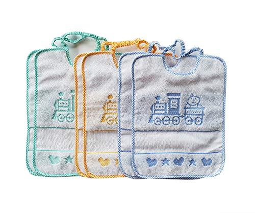 Bavaglie trenino con elastico 6 pezzi 100% cotone colori da bambino inserto in tela aida ideali per asilo nido e scuola materna produzione italiana