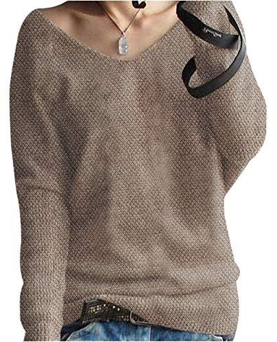 LinyXin Cashmere Damen übergroße Winter Pullover lose V-Neck Fledermausärmel Warm Cashmere Pullover Gestrickter Pullover aus Wolle (M / 46-54, Kamel)