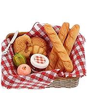 STOBOK Dollhouse brödkorg miniatyrer mat dockhus dekoration tillbehör 1:12 mini mat bröd skål med korg låtsas leka leksak 1 set