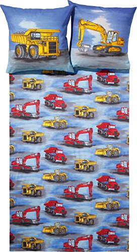 Dobnig Baustellen Bettwäsche 135x200cm   Kinderbettwäsche aus Bettwäsche mit Bagger aus Baumwolle   Biber Deckenbezug 135x200 cm & Kissen 80x80