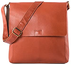 LEABAGS Ise Messenger Bag of Genuine Buffalo Leather in Vintage Look