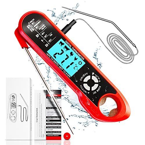 DERUC Termómetro de cocina digital con temporizador, 2 sondas de acero inoxidable, lectura instantánea, pantalla LCD, imán, para asar, hornear, cocinar, barbacoa,