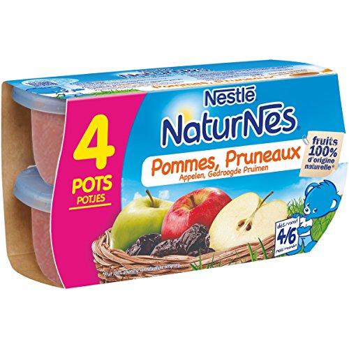 NESTLE NATURNES Compotes Bébé Pommes Pruneaux -Lot de 4 -Dès 4/6 mois