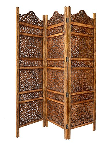 Artesia Wooden 3 Panel Carving Room Divider Wooden Partition