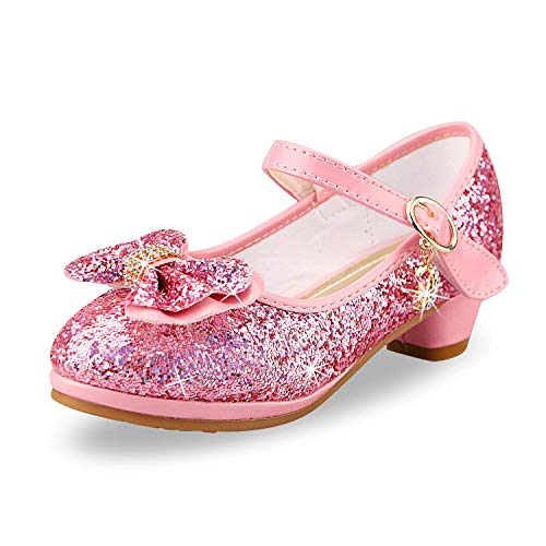 Prinzessin Schuhe Mädchen High Heels Sandalen Mädchen Pailletten Party Pumps Kinder 28 EU/Etikettengröße 29,Rosa