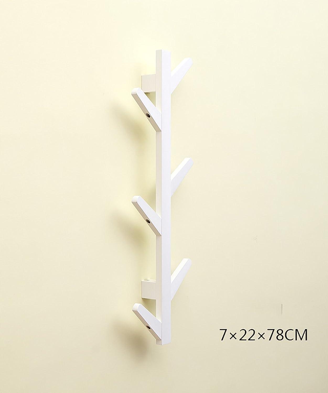 KKCF Creative Wood Wall Coat Rack Modern Simple Wall Hangers Bedroom Living Room Hangers (color   White, Size   78cm)