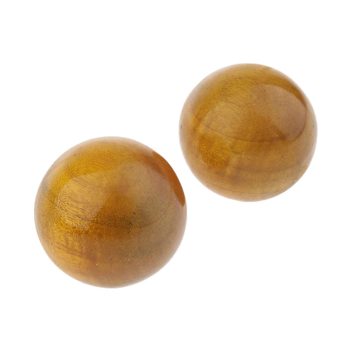 に同意する歩行者多分Perfeclan 2個 ハンドマッサージボール フィットネス 木製 手のひら 運動マッサージ 保定ボール