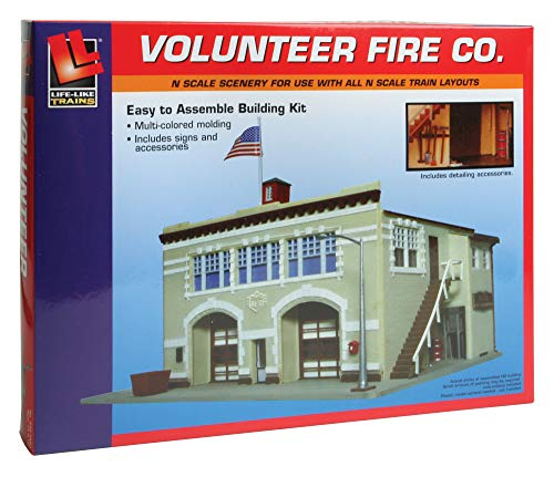 Life-Like Trains  N Scale Building Kit -Volunteer Fire Company