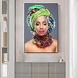 GLASA Colorido Gargantilla Maquillaje Mujer Lienzo Pinturas Arte De La Pared Carteles Impresiones Cuadros De Pared para Sala De Estar Hogar Cuadros De Pared DecoracióN-60x90cm Sin Marco