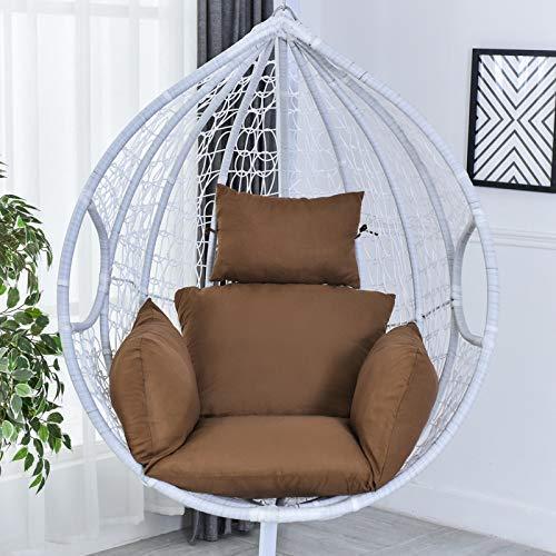 Chaise en rotin N /A, coussin de hamac, coussin de hamac, coussin de chaise suspendu, coussin épais pour intérieur extérieur, terrasse, jardin, plage, bureau, bleu, café