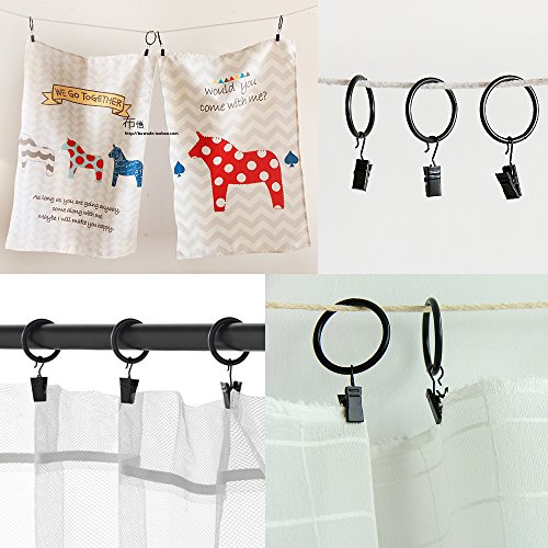 120 Pack Clip Hook Set Curtain Clips for Curtain,Photos,Home Decoration,Art Craft Dispaly,Black(Hang or Clip Almost Anywhere) …