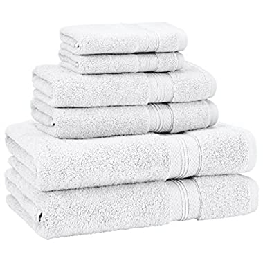 Pinzon Low Twist Pima Cotton 650-Gram 6-Piece Towel Set, White