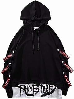 Felpe con cappuccio da uomo a contrasto colore città pullover hip hop con cappuccio giapponese Harajuku Streetwear
