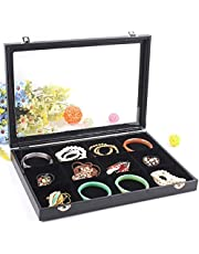 Padom Jewelry Tray, Multi-Functional Jewelry Organizer with Lid & Lock for Ring, Earring, Stud, Necklace, Bracelet, Watch, Soft ice Velvet Jewelry Showcase Display Tray(BLACK)