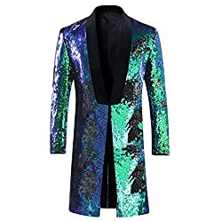 Blue - Green Slim Fit Shiny Sequin Blazer