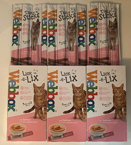Surrey Feed Webbox Cat Treats Hamper (Lick-e-lix/Tasty Sticks) - Salmon Flavour