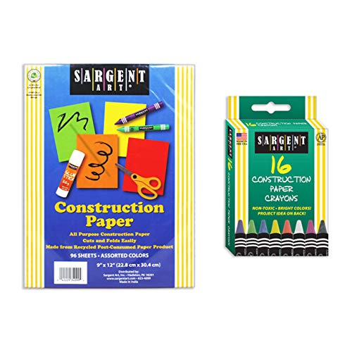 "Sargent Art Combo 9""x12"" 96 Sheets Assorted Construction Paper Crayons 16 Different Colors, for Art and Craft Projects, 2 Piece"