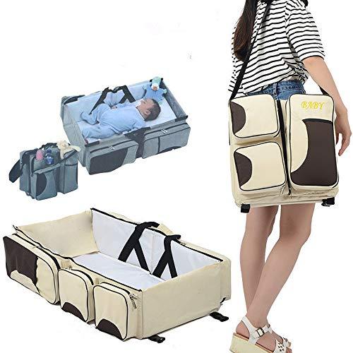 3 in 1 Wickeltaschen für Babys, Multifunktional tragbar Baby-Reisebett Krippe Wickeltasche Faltbar Tragetasche für 0-12 Monate, Nicht-gerade weiss