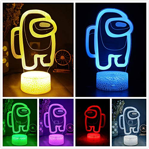 Among Us 3D Night Light with 16 Colors Changing, for Table Decoration/Children Bedroom, USB Charge, Touch Switch ,Changeable Multicolor, Atmosphere LED Light Lamp (Yellow)