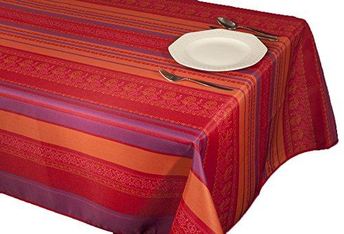Nappe anti-taches à larges bandes avec imprimés pour décoration d'intérieur Violet et couleurs printanières 240 x 150